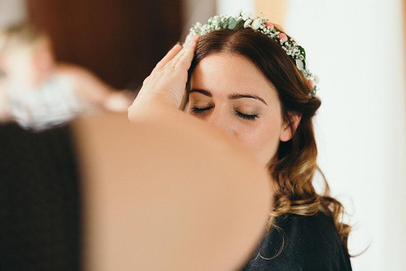 Brautsyling Blumenkranz Haare&Make-up
